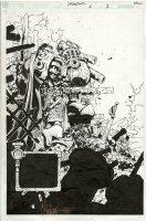 BACHALO, CHRIS  STEAMPUNK #6 pg 1 Splash, hero-Cole Blaquesmith 2001 Comic Art