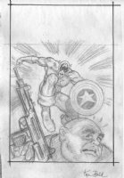 BALD, KEN - Captain America and bad guy Comic Art