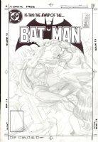 HOBERG, RICK - Batman #380 full-size Pencil Cover, Batman & Robin 2, Nocturna, Night-Slayer 1985 Comic Art