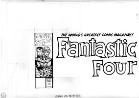 SIMONSON, WALT - Fantastic Four #353 cover, Hand-Drawn! logo box art: Reed Sue & mutated Thing Comic Art