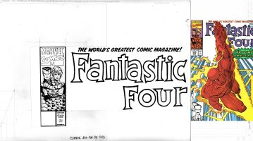 SIMONSON, WALT - Fantastic Four #353 cover, Hand-Drawn! logo box, 3 of 4 FF on cover - Reed Sue & mutated Thing Comic Art