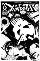 BRADSTREET, TIM - Punisher #46 cover, Punisher is not looking good after being shot so many times! Shells on overlay  Comic Art