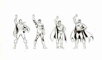 GARCIA LOPEZ, JOSE LUIS -  DC Promo figures: Batman Robin Green-Lantern Shazam 1980s Comic Art
