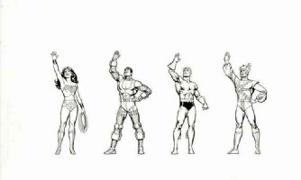 GARCIA LOPEZ, JOSE LUIS -  DC Promo figures: Wonder-Woman Aquaman Cyborg Firestorm 1980s Comic Art