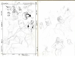 HUGHES, ADAM - JLA #31 prelim cover, 1st for DC, + sketches on back Comic Art