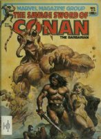 NOREM, EARL- Savage Sword of Conan #70 cover painting, Conan & Blonde vs giant ant god Comic Art
