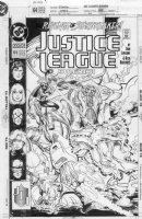 JURGENS, DAN - Justice League America #64 cover, Superman, Blue Beetle & Gold, Fire & Ice Comic Art