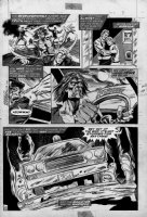 MARCOS, PABLO / RON WILSON - Tales of the Zombie mag. #9 pg, Zombie Garth drives cop car w/ letters Comic Art