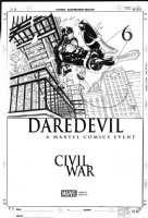 FERRY, PASQUAL - Daredevil #6 cover, Daredevil looking everywhere for Elektra�and the Civil War to deal with!!! Comic Art