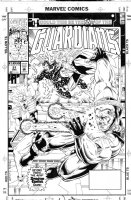 WEST, KEVIN - Guardians of Galaxy #31 cover, team fight Comic Art