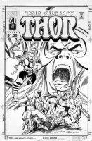 BUSCEMA, JOHN & RON FRENZ - The MightyThor #490 cover, 2 Thors, Absorbing Man Comic Art