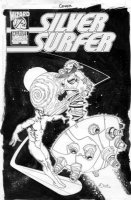 OLIVETTI, ARIEL - Silver Surfer 1/2 cover  Comic Art