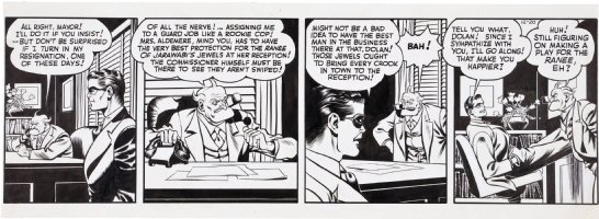 COLE, JACK inking over LOU FINE - Spirit daily 12/20 1943?, Spirit & Commish Dolan to guard jewels Comic Art