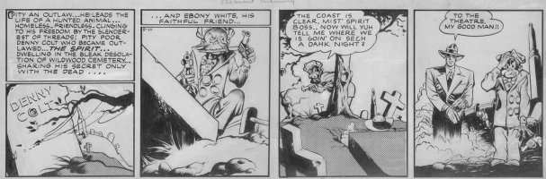 EISNER, WILL / LOU FINE inks - Spirit daily 8/10 1942 - rare daily pencils by Eisner, Spirit at Wildwood cemetery/ Denny Colt' grave - 1st of Dr Future story Comic Art