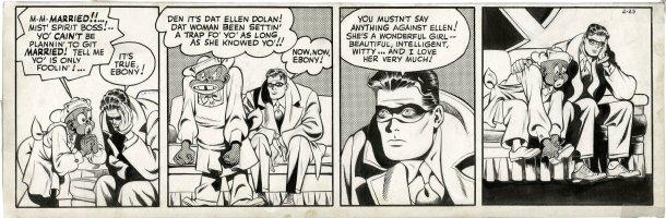 COLE, JACK inks over LOU FINE - Spirit daily 2/23 1944, Spirit & Ebony discuss Ellen & marriage Comic Art