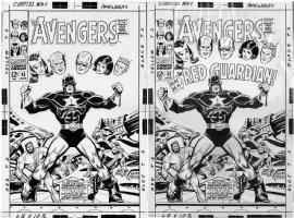 BUSCEMA, JOHN - Avengers #43 2-up cover, shown next to cover image w/ original Marvel logo edit on overlay Comic Art