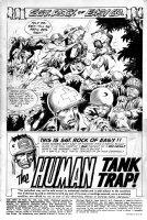 KUBERT, JOE - Our Army At War #156 pg 1 splash, large size art. Sgt Rock battle & intro, Human Tank Trap 1965  Comic Art