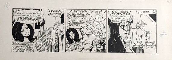 LONGARON, JORGE - Friday Foster daily 4/21 1972, all Friday & boss w/ camera Comic Art