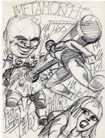 STONE, CHIC / SAL TRAPANI ?? - Metamorpho #12 cover prelim, Meta vs Franz Zorb & chemical robots   1967 Comic Art