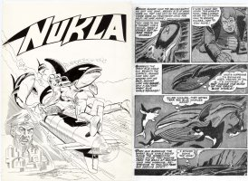 DITKO & GIORDANO ghost for Trapani - Nukla #3 large 1st cover, classic whales & hero rear-view pencils by STEVE D Comic Art