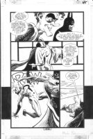 BADGER, MARK - Batman Run Riddler GN pg 47, Batman & Riddler (drawn ala Pat Oliphant' George Bush Sr) Comic Art