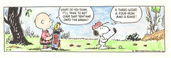 SCHULZ, CHARLES - Peanuts Snoopy daily, hand-coloring art for Golf-Trap Litho painting 1989 Comic Art