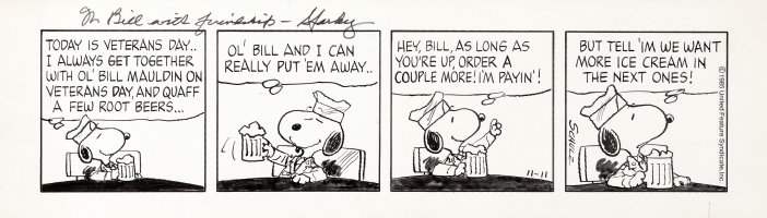 SCHULZ, CHARLES - Peanuts daily, WW2 Snoopy / Veterans Day  11/11 1985 Comic Art