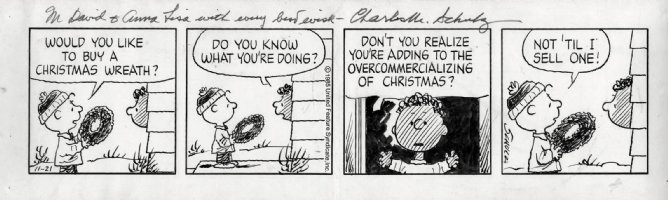 SCHULZ, CHARLES - Peanuts daily 11/21 1985 - Charlie Brown selling holiday wreath to Franklin - Christmas theme Comic Art