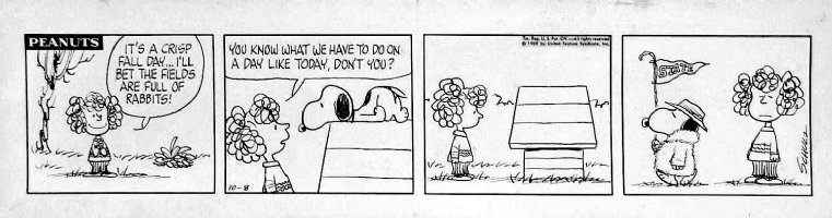 SCHULZ, CHARLES - Peanuts daily 10/8 1969 - Snoopy & doghouse + Frieda goading Snoopy to chase rabbits - college football gag Comic Art