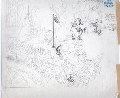 KURTZMAN, HARVEY - Playboy mag page - Little Annie Fannie showers, Daddy splashy panel - prelim Comic Art