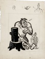 KURTZMAN, HARVEY - big man with axe cartoon daily tryout with border sketches 1948-1949 Comic Art