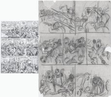 KURTZMAN, HARVEY - Two-Fisted Tales #31 2-up pg 6, rare surviving pencil layouts Comic Art