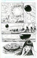 MANARA, MILO - X-Men: Ragazze in Fuga, X-Woman Rogue' island blows up, Psylocke close-up, Rogue, Storm, Kitty Pryde, Rachel Summers in raft Comic Art