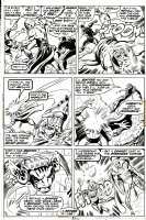 BUSCEMA, JOHN - Avengers #105 page 21, X-Men characters cross over. Top tier is an art recreation replacement Comic Art