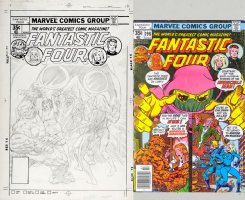BUCKLER, RICH - Fantastic Four #196 unlinked cover, Thing & Alicia, Human Torch & Invisible Woman 1978 Comic Art