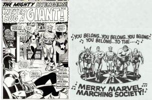 HECK, DON - Avengers #31 pg 1 Splash & Merry Marvel Marching Society cover -Captain America  Comic Art
