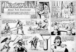 CELARDO, JOHN - Tarzan Sunday 7/10-1950s ala Prince Valiant Comic Art