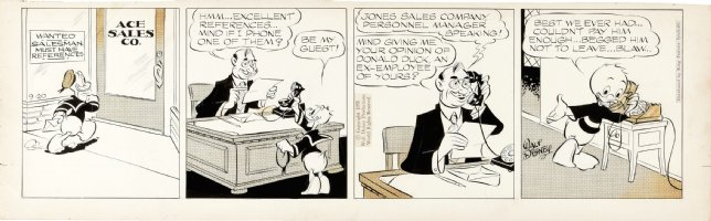 TALIAFERRO, AL - Donald Duck daily 9/20 1955, Donald & Nephew - job hunt, Disney studio sig. Comic Art