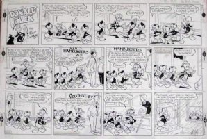 TALIAFERRO, AL - DISNEY' Donald Duck Sunday, Donald & Nephews at movie 1966 Comic Art