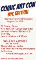 Coollines will attend - NY Comic Art Con NYC 2018 Comic Art