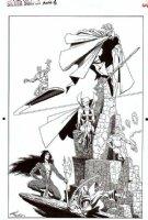 STARLIN, JIM / TERRY AUSTIN - Silver Surfer Annual Pinup, Surfer, Warlock + Drax & Gamora of Guardians Comic Art