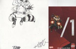LIM, RON & KIETH GIFFEN signatures w/ Rocket Raccoon Marvel Dr Pepper Summer ad 2014 - 1 of a kind - Guardians of Galaxy Comic Art