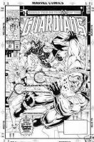 WEST, KEVIN - Guardians of Galaxy #31 cover, team-mates fight Comic Art