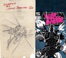 - ROMITA SR, JOHN -  Iron Man #281-#282 pencil prelim, 1st War Machine Design & 1st Cover on vellum 1992 Comic Art