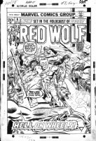 ROMITA SR, JOHN / RON WILSON / JOE SINNOTT inks - Red Wolf #8 cover, the native Avenger vs biker gang, 1973 Comic Art