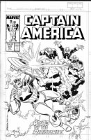 ROMITA, JOHN SR / RON FRENZ - Captain America #343 cover, Cap & Battlestar vs villains Comic Art