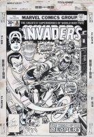 ROMITA SR, JOHN / RON WILSON based on Jack Kirby (signed) design - Invaders #10 cover, Captain America & Bucky vs Reaper 1976  Comic Art