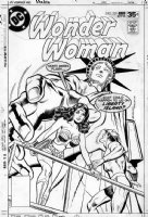 BUCKLER, RICH - Wonder Women #239 cover, WW & G.Age Flash & Statue of Liberty Comic Art