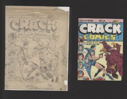 FOX, GILL - Crack Comics #18 pencil cover prelim & color indicator,  Black Condor  1941 Comic Art