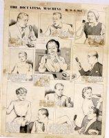 HILL, W.E. - Among Us Mortals Comic Sunday -  Dictating Machine  - 5/7 1950s Comic Art